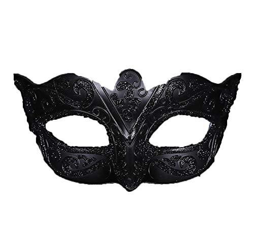 (TINGTING Männer Venezianischen Maskerade Maskenball Party Prom Kostüm Zubehör Unisex-Adult,Black)