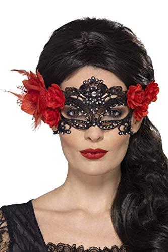 (Smiffys Damen Filigrane Tag der Toten Augenmaske mit Rosen, One Size, Schwarz, 44958)