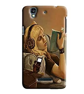 Blue Throat Girl Reading Book Printed Designer Back Cover/ Case For Micromax Yu Yureka