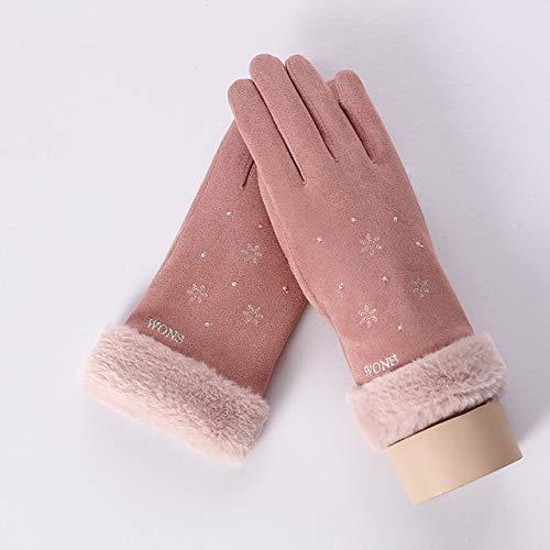 IMmps Damen Touchscreen Handschuhe Winter Neue Frauen Spitze Warm Plus Samt Nette Handschuhe Doppel Verdicken Plüsch Handgelenk Fahrhandschuhe-T3683E Rosa