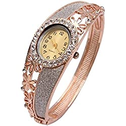 Shining Diva Fashion 18k Rose Gold Bangle Watch Bracelet For Girls and Women