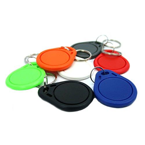 NFC21 68059 Anhänger, NTAG 213, 168 Byte, 30 x 40mm, 7 Stück für NFC Smartphone rot/grün/grau/weiß/orange/schwarz/blau