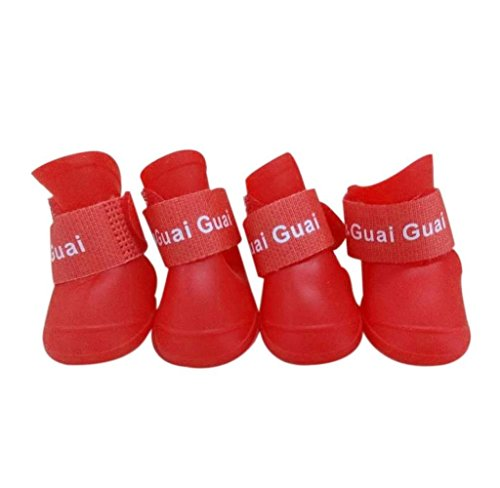 Farbe Wasserdicht Haustier Pfotenschutz Stiefel Schuhe Hundeschuhe (S, Rot) (Rot Schuhe Für Verkauf)
