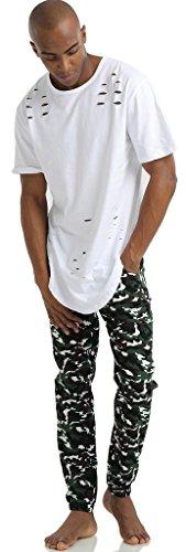 Pizoff Herren Hip Hop Harem Jogginghose aus gestepptem Hochglanz-Jersey Y1750-01