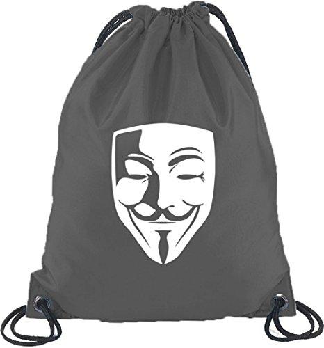 MOUS MASKE, Guy Fawkes Vendetta Turnbeutel Rucksack Sport Beutel, Größe: onesize,Dunkelgrau ()