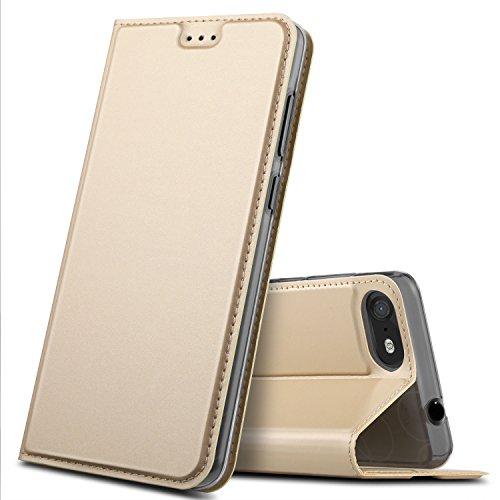 Wiko Tommy 3 Hülle, GeeMai Premium Flip Case Tasche Cover Hüllen mit Magnetverschluss [Standfunktion] Schutzhülle Handyhülle für Wiko Tommy 3 Smartphone, Gold