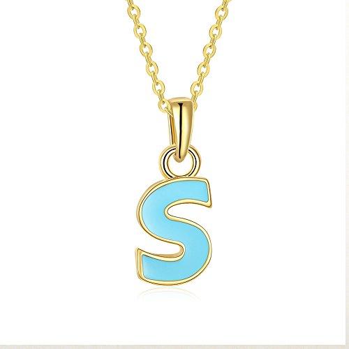 FushoP Alphabet Blue S Personalisierte Charm Anhänger Halskette (Vergoldet) (Gold-halskette Personalisierte)