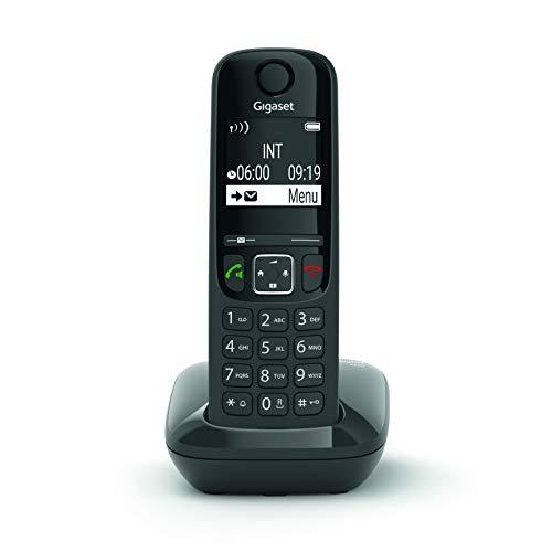 Gigaset AS690 - Teléfono inalámbrico, manos libres, pantall de gran contraste, agenda de 100 contactos, Color Negro