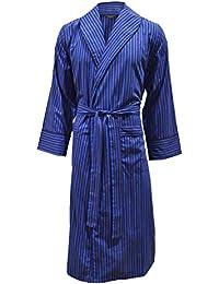 Robe de chambre légère 100% coton - rayé bleu / rouge foncé - homme