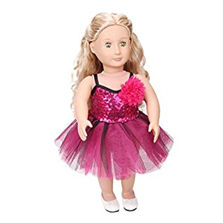 Fashion Sleeveless Party Prom Gown Lace Dress Clothing for 18 Inch AG American Girl Our Generation Dolls and other 45-46cm Dolls with Flower (B)