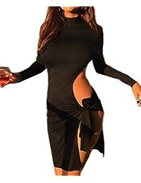 8ce2e5d04a5e Simple-Fashion Primavera Autunno Donne Cavo Bende Vestiti Sexy Strette  Corto Abito da Club Partito Festa Moda…