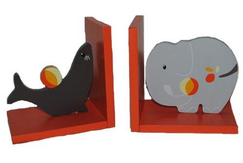 Unbekannt Buchstützen Bücherstützen Elefant Robbe Seelöwe Zoo Tiere Kinder Holz
