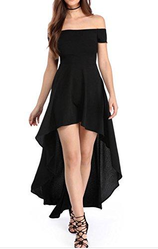 YaoDgFa Sexy Damen Kleider Abendkleid Cocktailkleid Partykleid Kleid Ballkleid Knielang Festlich Kurzarm Off Schulter Lang Maxi Asymmetrisch Schwarz