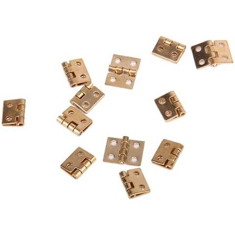 Sonline 12pcs 1/12 muebles de casa de munecas en miniatura del gabinete closet mini bisagras - golden