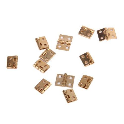 12pcs Armadietto Armadio Mini Cerniera Per 1/12 Di Mobilia Miniatura Casa Delle Bambole - Golden