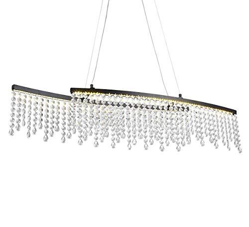LED Design Glas Kristall Deckenleuchte Deckenlampe Hängeleuchte Pendelleuchte Lüster Kronleuchter 80 x 12,5cm 24W warm-weiß