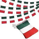 Anley Italy - Striscione di bandierine con Bandiera della Repubblica Italiana, Eventi patriotici 2° Giugno Nazionale Giornata Nazionale Barre Sportive, 10 m, 38 Bandiere