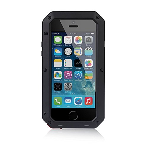 Waterproof Shockproof Aluminum Gorilla Glass Metal Cover Full-body Military Armor Protective Snowproof Dustproof Front and Back Case Cover For Apple iPhone 5 5S - Black by ISOUL noir