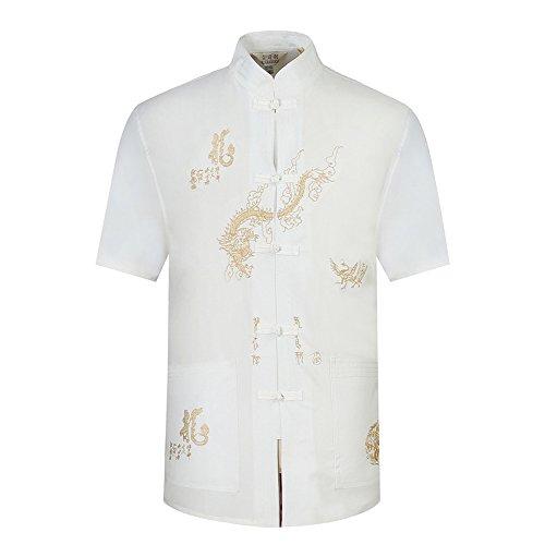 BOZEVON Herren Kurzarm T-Shirt Tang Anzug Polyester Hemd & Hose (Weißes Hemd) (Traditioneller Uniform Kurzarm Shirt)