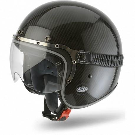 AIROH Garage Carbon Gloss L Casco jet CARBONIO (XS)