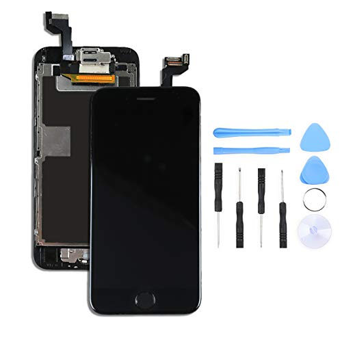 Bokman Vormontiertes Display Reparaturset kompatibel mit Schwarz iPhone 6s, Inklusive FaceTime-Kamera, Home button, Mikrofon, Lautsprecher und Näherungssensor, Passendes Profi-Werkzeugset enthalten