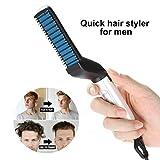 FOXTSPORT, pettine elettrico per capelli da uomo, per lisciare i capelli ricci, pettine per capelli magico, pettine massaggiante, lisciante e arricciacapelli fai da te (nero)