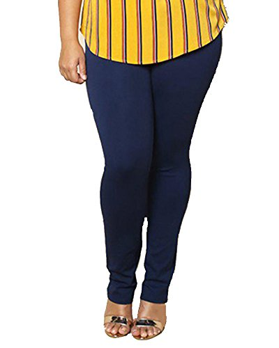 Ladies Stretch Trousers Plus Size Elasticated Waist Pants DarkBlu