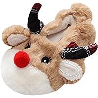 zapatillas casa emoji, Sannysis zapatillas casa bebe niños niñas invierno divertidas ropa de disfraces cálida zapatos de algodón de seguridad bebe dress up zapatillas navidad, diseño de ciervo (14.5CM)