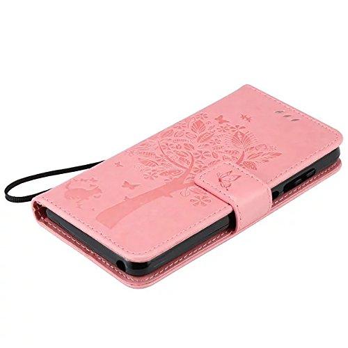 WIKO LENNY 3 Case, embossé Fleurs Cat And Arbre Solide boîtier Wallet Stand étui en cuir couleur PU Avec Dragonne Silicone Cover Pour WIKO LENNY 3 ( Color : Red , Size : WIKO LENNY 3 ) Pink