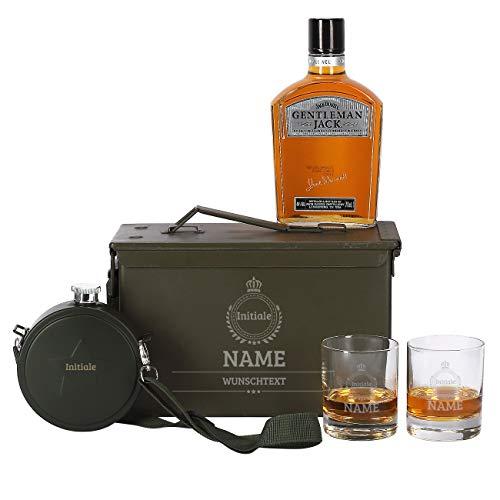 Herz & Heim® 6-tlg Jack Daniel's Gentleman Jack Whiskey Set 2 Gläsern mit Gravur, Feldflasche + Orginal Munitionskiste