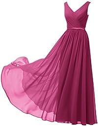 Alicepub A-Linie Chiffon Brautjungfernkleider Abendkleider Lang Ärmellos Ballkleider