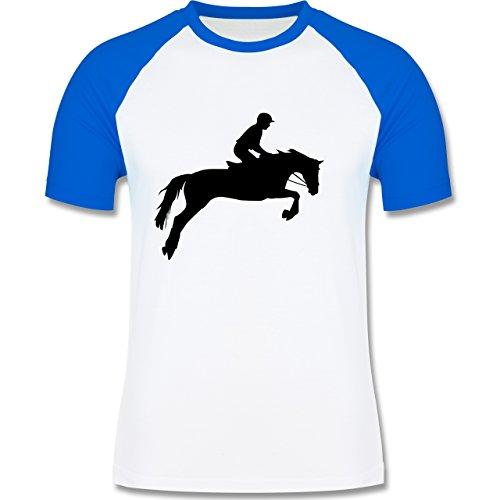 Reitsport - Springreiten - zweifarbiges Baseballshirt für Männer Weiß/Royalblau