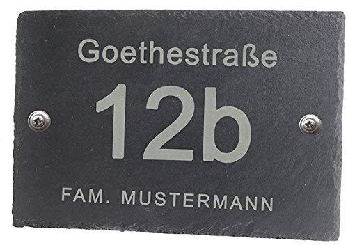 Feiner-Tropfen Hausnummer Schiefer Schiefertafel BK 30x20 cm groß Gravur
