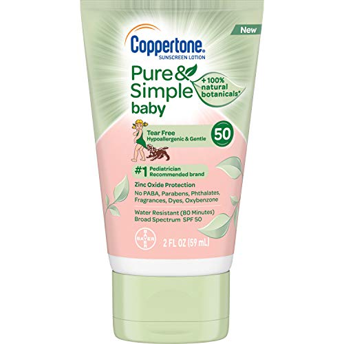 Coppertone WaterBabies Pure & Simple Tear Free Mineral Based Sunscreen Lotion Broad Spectrum SPF 50 (2-Fluid-Ounce, Travel Size) -