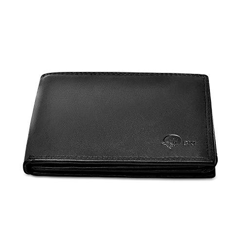 Brieftasche mit RFID Schutz, Schwarze Geldbeutel aus Echtem Leder, Herren Ledergeldbörse, Portemonnaie mit Münzfach Geldbörse