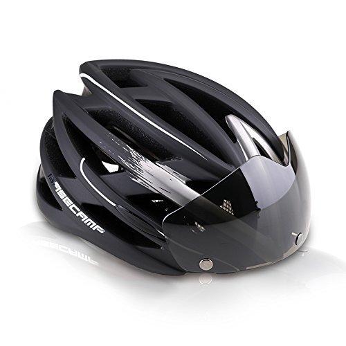 Basecamp Casque de vélo Casque de vélo avec vélo Lunettes Ultraléger Intégralement moulé Route Casque VTT Casco Ciclismo (noir, gris)