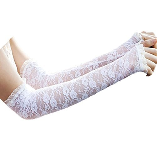 BXT Premium Fingerlose Spitze Brauthandschuhe Hochzeithandschuhe in Verschiedene (Kurze Handschuhe Erwachsene Weiße Fingerlose)