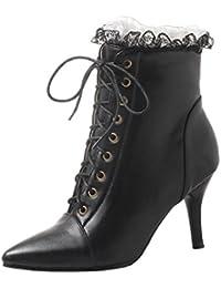 7e8a06ba056e YE Bottines Dentelle Femme à Talon Aiguille avec Lacets Bottes Lacees Bout  Pointu Haut Cuir Courtes Ankle Boots…