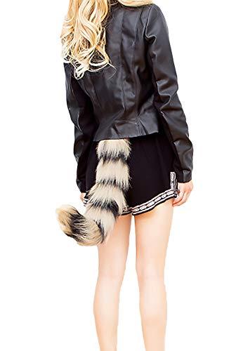 Emmay Damen Halloween Kostüm Fuchs Schwanz Einstellbar Elegante Wesentlich Fashion Unique Synthetisch Pelz Schweifanhänger Cosplay Outfit (Color : Grau, Size : One ()