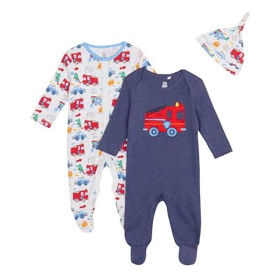 Childrens Kids Baby Boys' Fire Engine Sleepsuits Pack of Two, Navy 0-3 Months