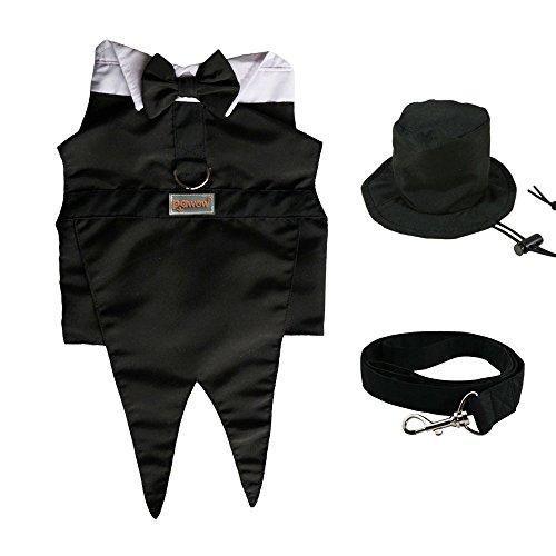 pawow Pet Dog Smoking Hochzeit Outfit Kostüm, mit Top Hat D-Ring und Leine (Formale Schwarz Tuxedo Hochzeit Boy)