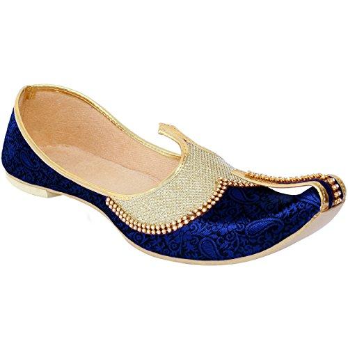 Krafto Men's Golden Blue Silk Sherwani Jutti - 6 UK