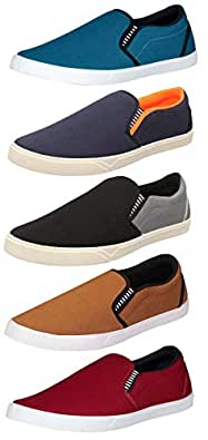 Chevit Men's Combo Pack of 5 Casual Shoes (Loafers & Sneakers Shoes) PN-98+101+166+148+97-6