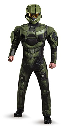 Halo Deluxe 3 Kostüm - Disguise Men's Master Chief Deluxe Muscle Adult, Green, X-Large