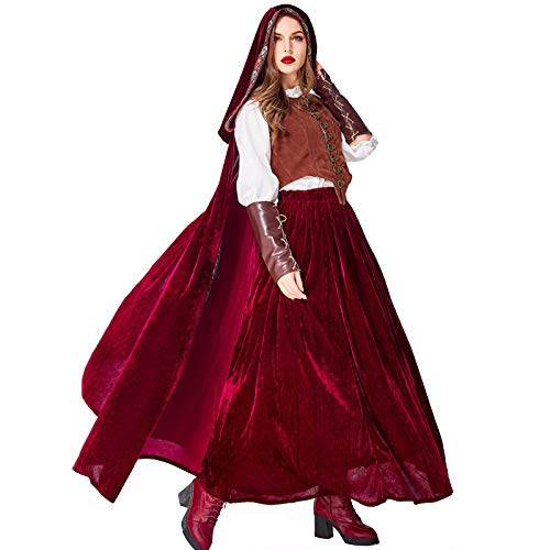 Kostüm Red Cape Riding Hood - HEROMEN Cape Red Riding Hood Cosplay Kostüm Gothic Weinrot Kleidung Für Halloween Female Wear,M
