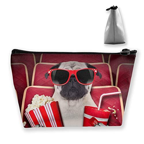 Bulldogge, die einen Film mit Popcorn-Reise aufpasst, bilden Beutel-Organisator-Speicher-Beutel-Reise-Zusatzgerät