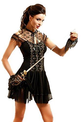 Kleid Mottoparty Musketiere Clubwear Karneval Gr S-XL 3-teilig, Größe:S/M (Milady Kostüm)