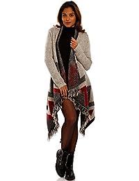 0c13944e40774c YC Fashion & Style Damen Cardigan Asymmetrisch Strickjacke Ethno mit Fransen  Longstrickjacke