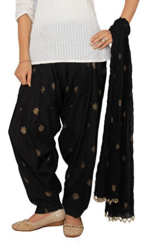 Rama Rogan Print Cotton Women\'s Full Patiala Bottom with Dupatta Set(Free Size,Black)