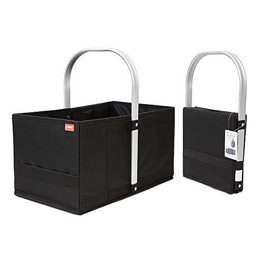 achilles Handle-Box, Einkaufskorb mit Cleverm Faltsystem, Faltkorb mit Aluminium Griff, Shopper Schwarz, 40 cm x 24 cm x 20 cm